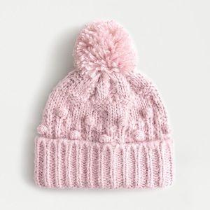 NWT J.Crew pink chunky knit bobble beanie